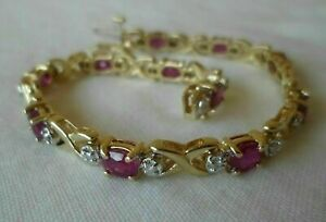 4-CT-Oval-Cut-Ruby-14k-Solid-Yellow-Gold-Over-Diamond-Tennis-7-034-Women-039-s-Bracelet