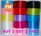DOUBLE SIDED SATIN RIBBON ! BUY 2 GET 1 FREE ! CUT 6mm 12mm 25mm 38 mm 50mm