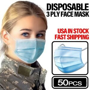 50-PCS-3-PLY-Disposable-Face-Mask-Non-Medical-Surgical-Earloop-Mouth-Dust-Cover