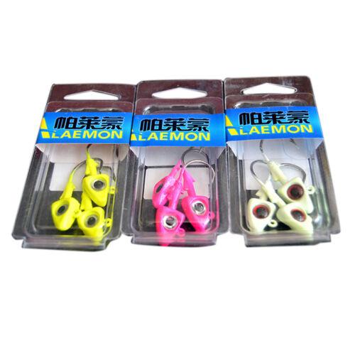 Fishing Jig Head with 2//0 Hook Fish Shape Lead Head Hooks 3 Colors 3 Pcs//Pack TB