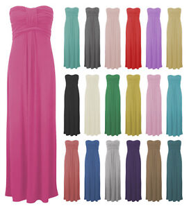 WOMENS-LADIES-BOOBTUBE-KNOTTED-FRONT-STRAPLESS-BANDEAU-MAXI-LONG-DRESS-SIZE-8-22
