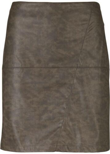 Lederimitat-Rock in gewaschener Optik Gr 38 Braun Mini-Skirt Freizeitrock Neu