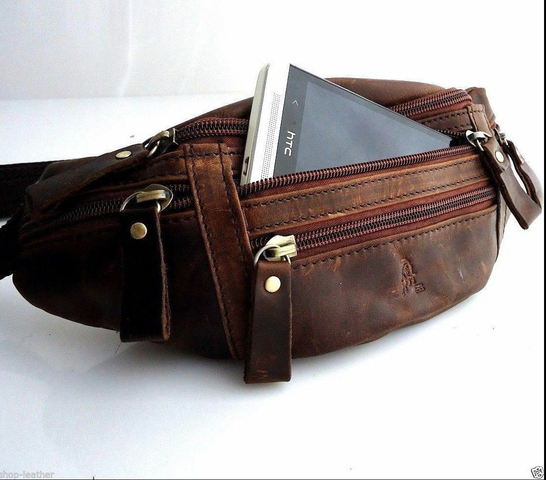 Image 31 - Genuine full Leather wallet Bag man zipper Waist Pouch backpack cellphone brown