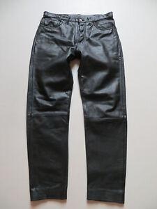 Levi-039-s-Lederhose-Leder-Jeans-Hose-W-34-L-32-schwarz-robustes-Echtes-Leder