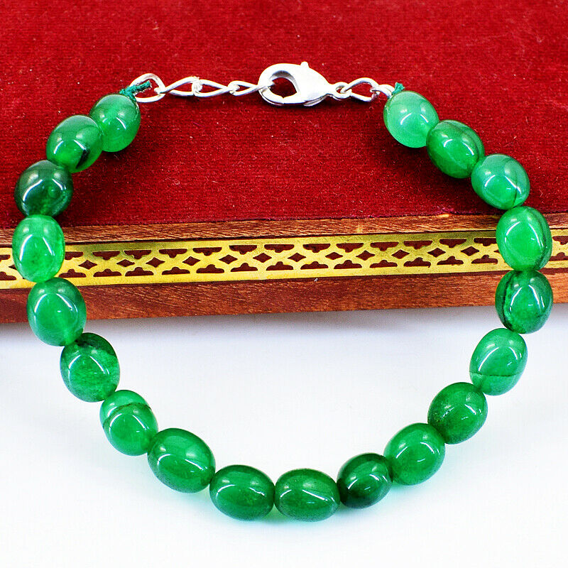 90.00 Cts Earth Mined 7 Inches Long Green Emerald Oval Beads Bracelet NK 54E47