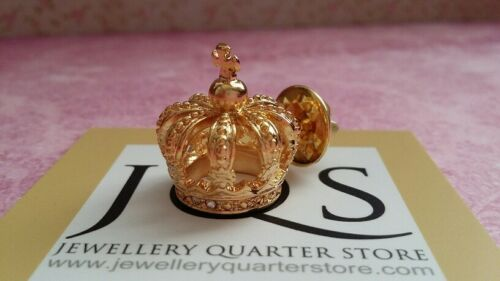 Free UK Post Gold Plated 3D Crown 25mm Lapel Pin Badge Brooch Gift Boxed