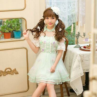 Mori Girl Lolita Japanese Princess Chiffon Lace Dress Off shoulder Sweet skirt