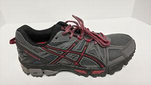 Asics Gel-Kahana 8 Trail Running Shoes, Grey/Red, Men's 9 M