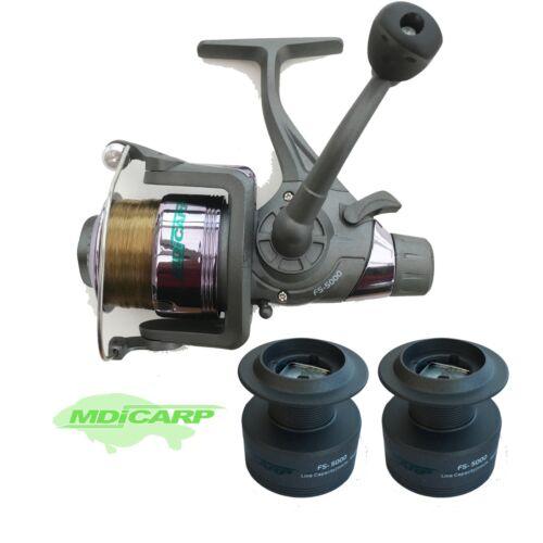 MDI Carp FS-5000 Freespool pesca carpa/luccio REEL pre-caricato 15 LB (ca. 6.80 kg)  2 BOBINA DI RICAMBIO