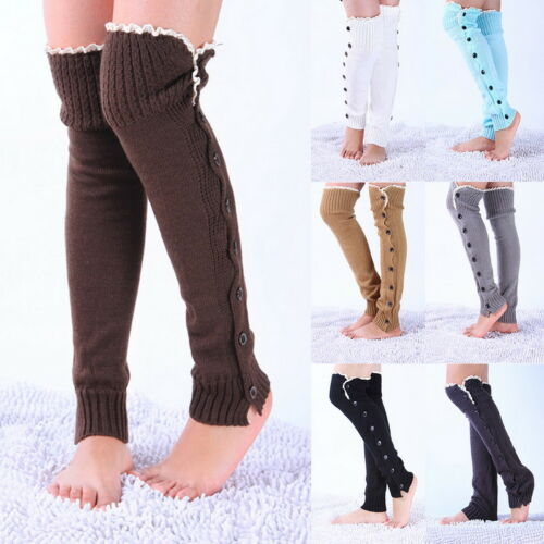 UK Lady Winter Cable Knit Leg Warmer Over Knee Long Boot Thigh-High Sock Legging