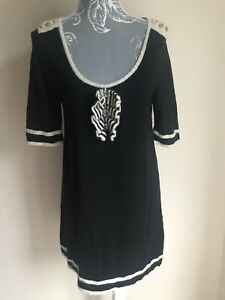 River-Island-Women-Tunic-Jumper-Size-18-Black-Striped-Button-Detail-Short-Sleeve