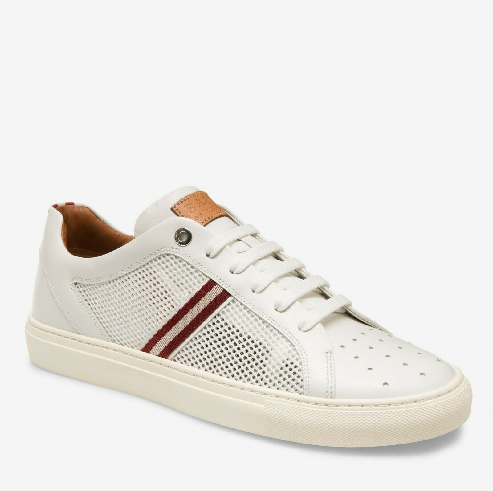 Bally Men's White Calf Leather Sneakers w Red Beige Web 11D Herk-U-07
