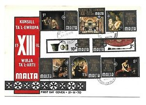 Malta-XIII-Art-Ex-Council-of-Europe-Set-of-8-Stamps-on-First-Day-Cover
