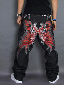 New-Mens-Jeans-Embroidery-Baggy-Loose-Denim-HipHop-Butterfly-Streetwear-w30-w44