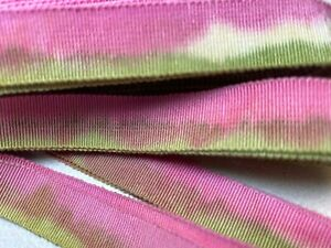 Vintage-Cotton-Rayon-5-8-034-Petersham-Ribbon-Pink-Limeade-1yd-Made-in-France