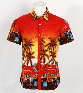 Hot-LARGE-SIZE-Men-Aloha-Shirt-Cruise-Tropical-Luau-Beach-Hawaiian-Party-Palm