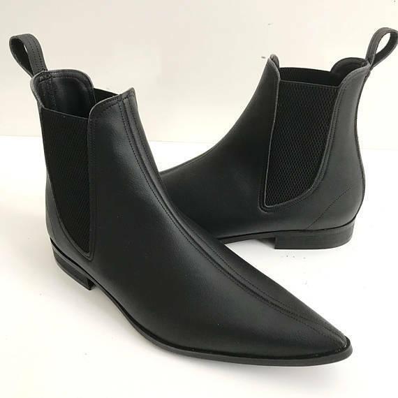 botas para hombre hecho a mano Negro De Cuero Chelsea ropa formal Vestido Informal Zapatos EE. UU. 6-16