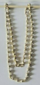 Tulsi Yellow Metal Linked  Prayer Mala Necklace 23 in. long w/ Clasp - US Seller
