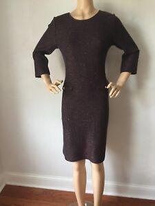 NWT St John knit dress size 14 Black Santana knit wool rayon