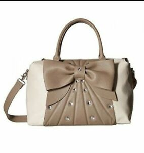 Bow Portemonnee Large Women's Handtas Johnson Betsey Satchel Pearl Tweekleurig taupe Bone 7fb6yg