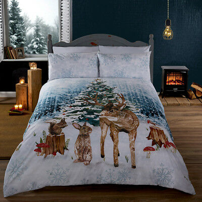 Winter Woodland Stag Rabbit Squirrel Duvet Quilt Cover Bedding Set + Pillowcases