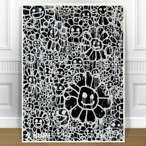 TAKASHI MURAKAMI Black Flowers CANVAS PRINT JAPANESE POP ART 8x10/""