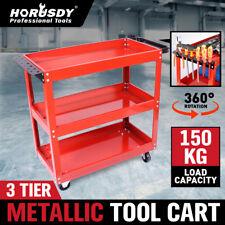 Heavy Duty Tool Cart 3-Tier Parts Steel Trolley Mechanic Storage Organizer Red