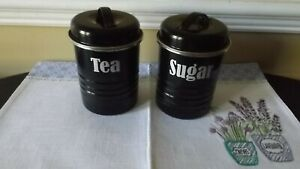 TYPHOON-VINTAGE-KITCHEN-ENAMEL-COATED-STEEL-BLACK-CANISTERS-TEA-AND-SUGAR-RETRO