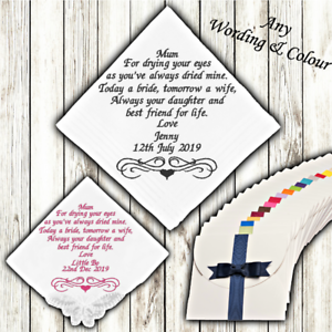 EMBROIDERED WEDDING HANDKERCHIEF PERSONALISED MOTHER OF THE BRIDE CUSTOM POEM