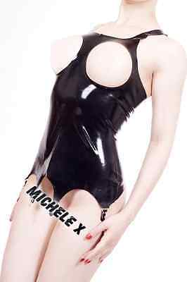 NEW Black Latex Rubber Female Corset & Cut out Breasts (ENGLISH) S M L XL