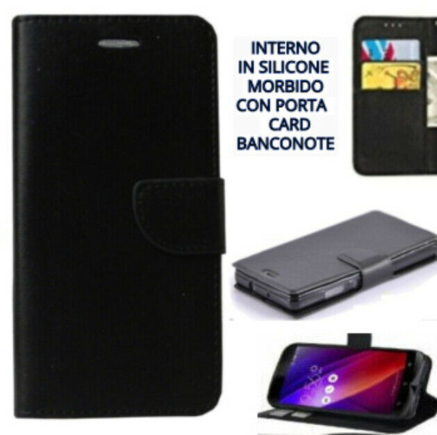 PER SAMSUNG GALAXY ENTRA - COVER COLORE NERO A LIBRO CON PORTA CARD IN ECO PELLE