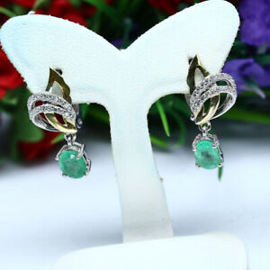NATURAL-5-X-7-mm-OVAL-GREEN-EMERALD-amp-WHITE-CZ-EARRINGS-925-STERLING-SILVER