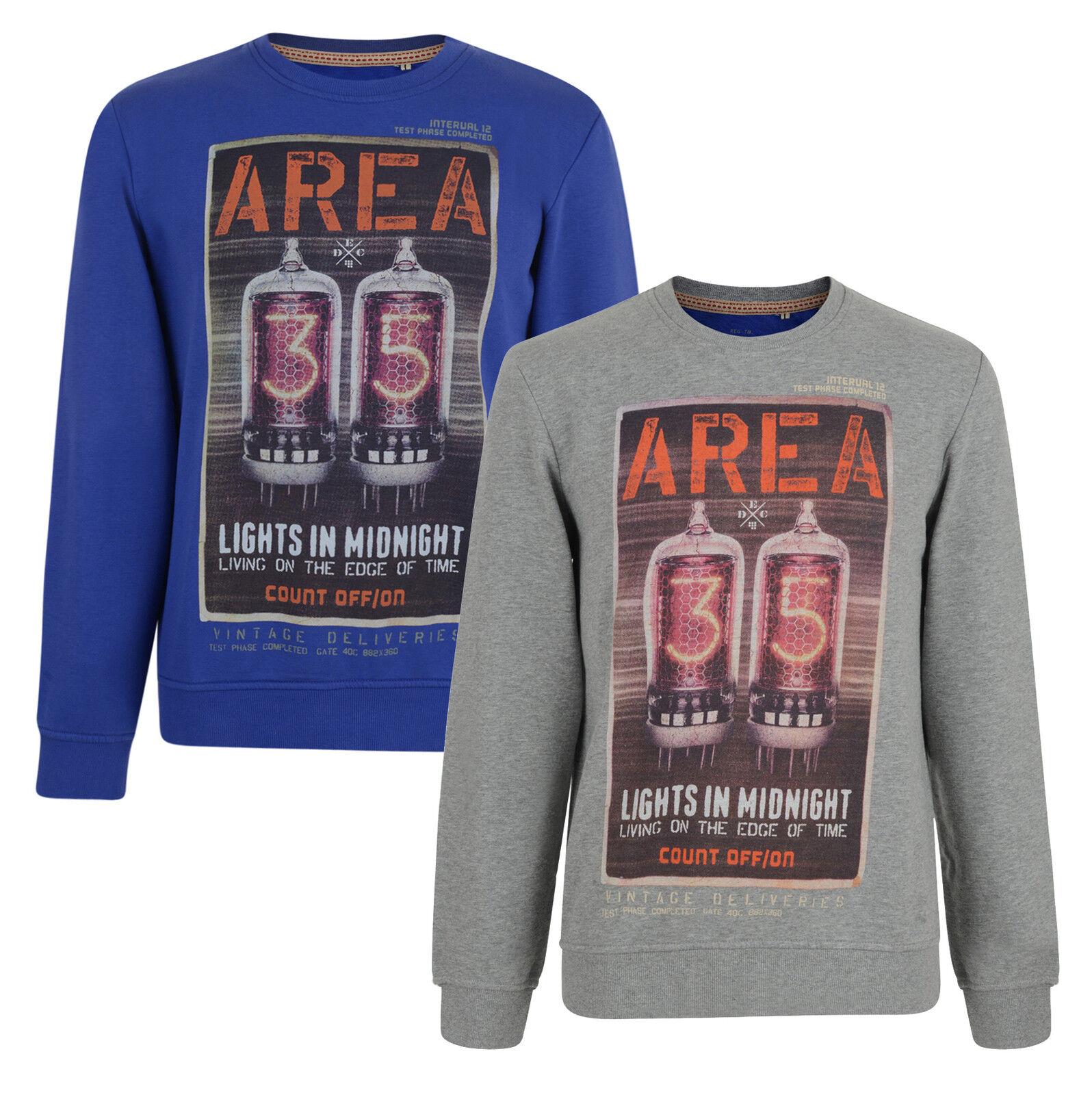 EDC by Esprit Mens Sweatshirt Printed Graphic Blue & Grey Top S M L XL XXL