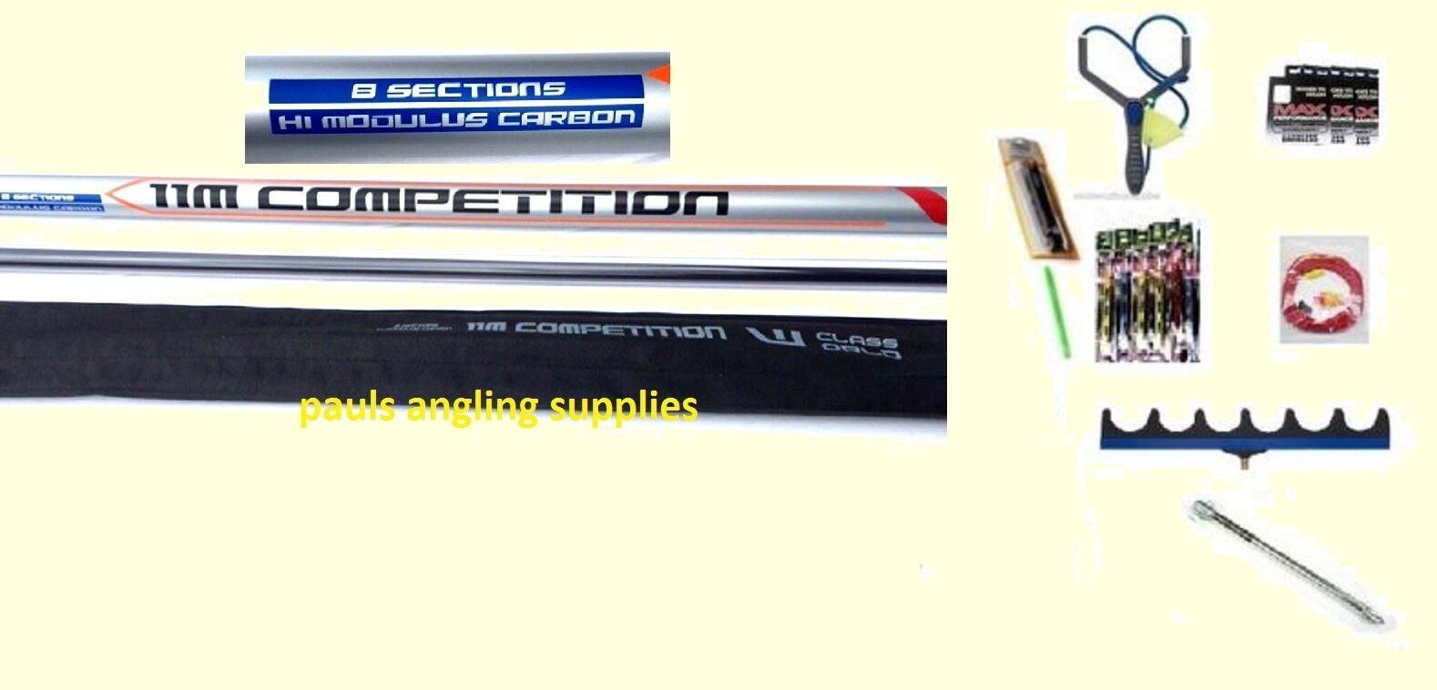 11M Carp Fishing Pole World Class 10 Elastic Kit Roost Pole Rigs Hooks