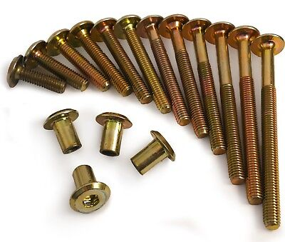 M6 x 80mm Bronze Furniture Connector Bolts With Cap Nuts Joint Fixing Bed Cot