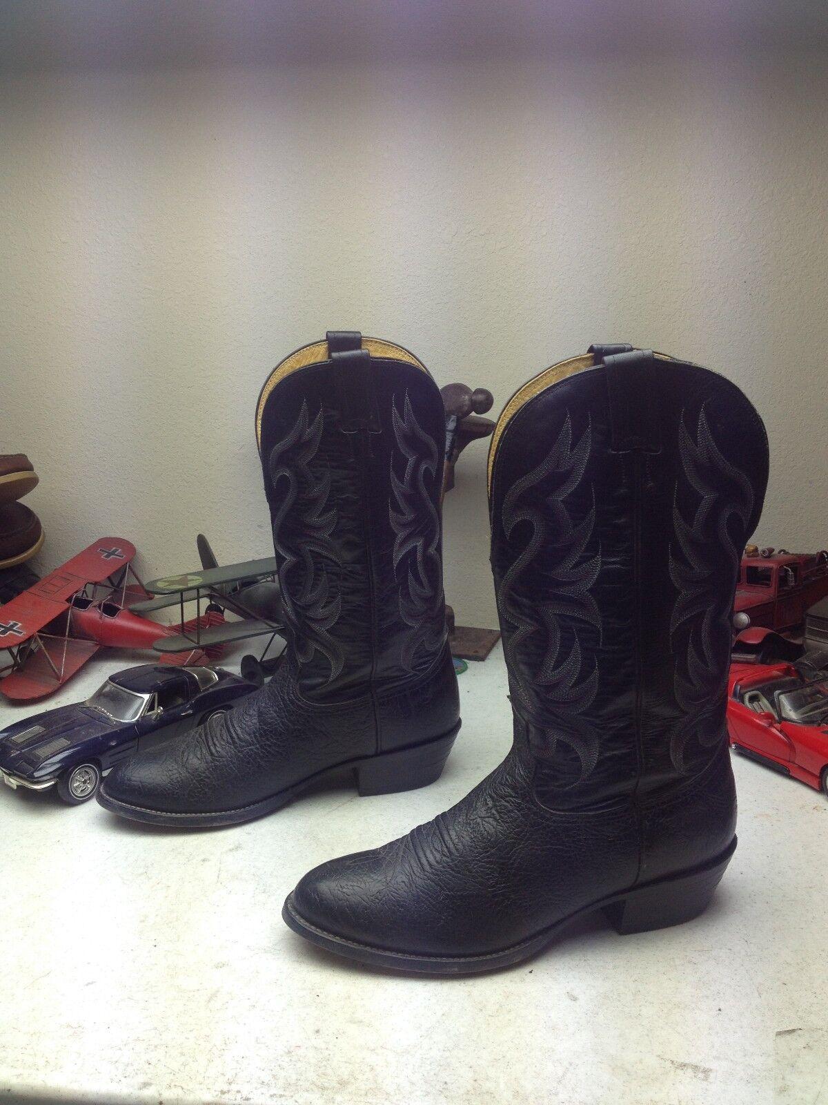 NOCONA DISTRESSED USA BLACK BLACK BLACK LEATHER WESTERN COWBOY BOOTS 10EE 3b9c37