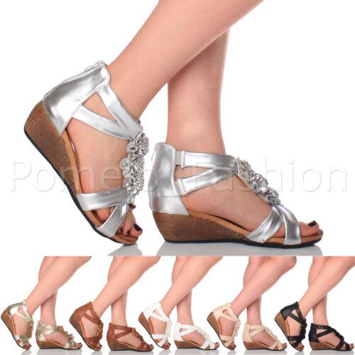 Mujer Damas Tacón Bajo Cuña Medio Flor T-bar de verano noche sandalias zapatos talla