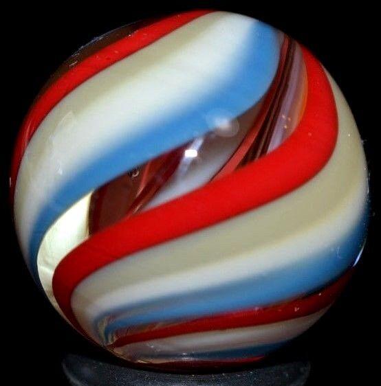 JODY FINE HANDMADE GLASS MARBLE .896 INNER-RED WHITE DIVIDED RIBBON+blueE JEANS+