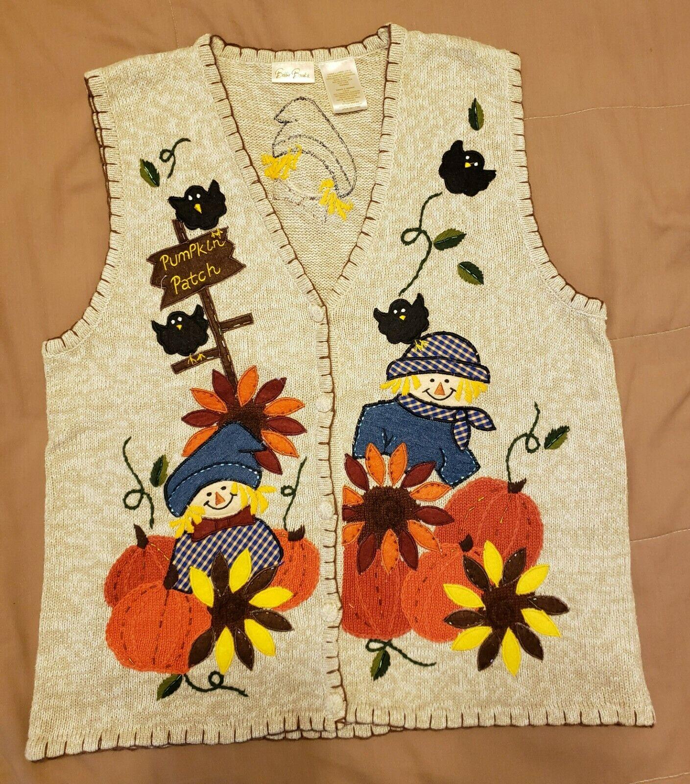 Bobbie Brooks Sweater Vest Fall Harvest Halloween Scarecrow Pumpkin Size Large