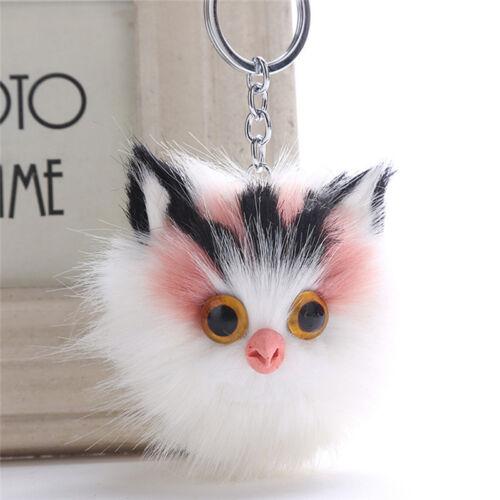 SoftFaux Fluffy Fur Pompom Cat Animal Keychain Keyring Bag Charm Pendant Gift KI