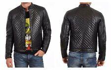 Men's Quilted Motorcycle Black Genuine Lambskin Leather Biker Jacket