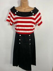 Para-mujer-Dolly-amp-Dotty-Negro-Rojo-a-Rayas-anos-50-Vintage-Rockabilly-Swing-Dress-Reino-Unido-16