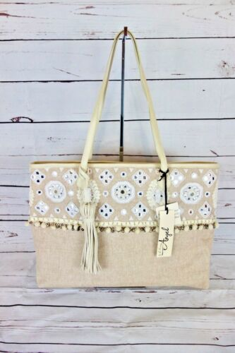 Martino Lily Extra Large Boarding Tote Natural Color MSRP $148 NEW Angel by L