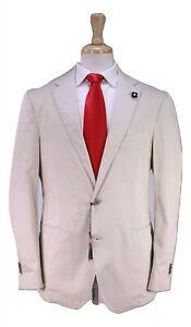 NWT-New-LARDINI-Current-Model-Solid-Khaki-Tan-Cotton-2-Btn-Slim-Fit-Suit-44R