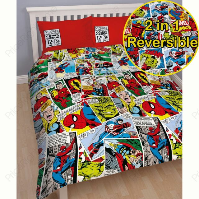 Marvel Comics Justice Double Housse Couette Réversible Thor Hulk Iron Man Neuf