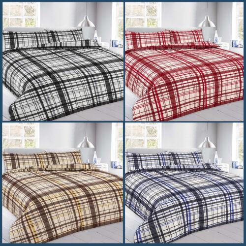 Sale Checked Duvet Cover Set Pillowcases Size Single Double King Super Flynn