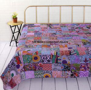 Patchwork-KANTHA-QUILT-Manta-India-Edredones-Queen-Size-Bedspread-Colcha-Cobertor