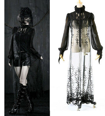 Punk Rave Goth Casual Long Blouse Top Chiffon Broidery Maxi victorian KERA Dress