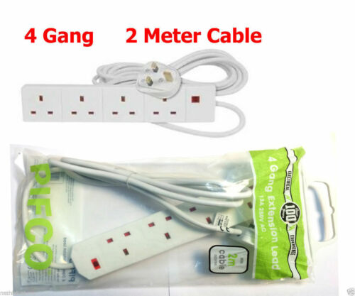 Pifco 2 4 6 gang Extension Lead 1 m 2 m 5 m Switched Surge Câble Prise secteur Plug