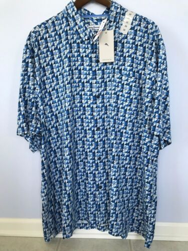 TOMMY BAHAMA SILK POQUITO GEO HAWAIIAN CAMP COBALT SEA SHIRT 2XL 3XL NWT